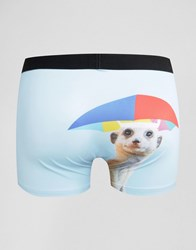 Asos Trunks With Meercat Print In Microfibre Blue