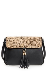 Sole Society 'Noble' Faux Leather And Genuine Calf Hair Shoulder Crossbody Bag