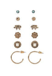 Forever 21 Elephant And Hoop Earring Set Antic Gold Ivory