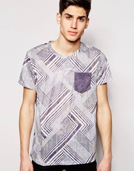 Pull And Bear Pullandbear T Shirt With Zig Zag Print With Contrast Pocket Grey