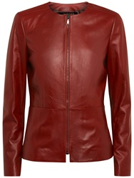 Jaeger Waisted Leather Jacket Brick