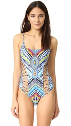 Red Carter Beach Babe Side Cutout One Piece Azure Multi