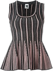 M Missoni Striped Knitted Top Black