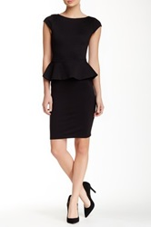Alice Olivia Victoria Short Sleeve Peplum Dress Black