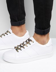 Asos Lace Up Trainers In White Snakeskin Effect With Camo Laces White