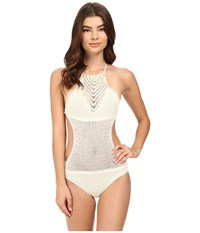 Vitamin A Nightbird Monokini One Piece Natural Crochet Women's Swimsuits One Piece Taupe