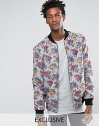 Reclaimed Vintage Melton Bomber Jacket In Floral Print Grey