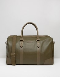 Barney's Barneys Structured Leather Holdall In Khaki Green