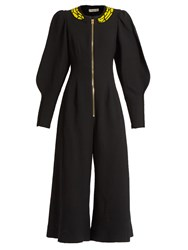 Natasha Zinko Banana Embellished Wide Leg Wool Jumpsuit Black
