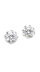 Kenneth Jay Lane Round Cz Stud Earrings Clear Silver