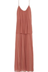 Elizabeth And James Mael Pleated Silk Chiffon Maxi Dress Antique Rose