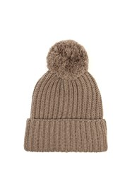 Max Mara Weekend Knitted Beanie Hat Light Brown