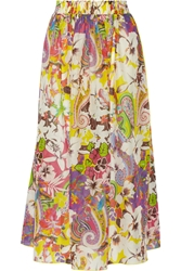 Etro Printed Cotton And Silk Blend Voile Maxi Skirt