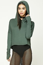 Forever 21 Hooded Drop Shoulder Top Olive