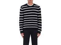 Vince. Men's Striped Wool Blend Boucle Sweater Navy Ivory Navy Ivory