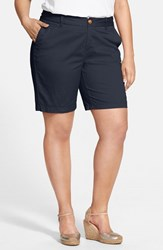 Plus Size Women's Sejour 'Addison' Stretch Twill Bermuda Shorts Navy Peacoat