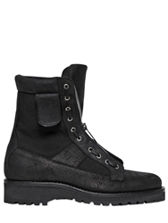 Dsquared Military Zipped Leather Boots Black