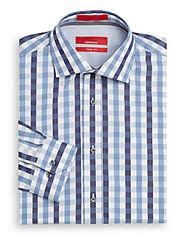 Saks Fifth Avenue Red Trim Fit Checked Cotton Shirt Blue
