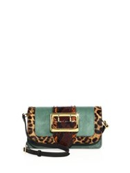 Burberry Chipstead Patchwork Multicolor Snakeskin Calf Hair And Suede Shoulder Bag Aqua Multi