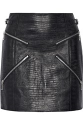 Alexander Wang Zip Embellished Lizard Effect Leather Mini Skirt Black