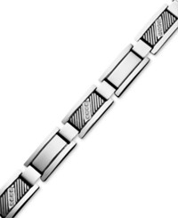 Macy's Men's Diamond Rectangle Link Bracelet In Stainless Steel 1 10 Ct. T.W.