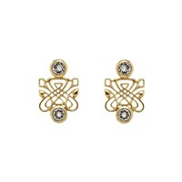 Biba Gold Emblem Crystal Earrings