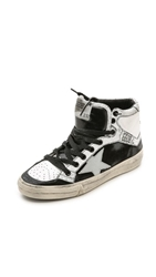 Golden Goose 2.12 High Top Sneakers White Black Cracked