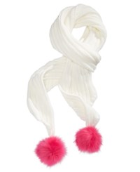 Betsey Johnson Xox Trolls Knit Scarf With Pom Poms Only At Macy's Ivory