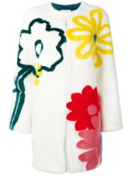 Mira Mikati Floral Faux Fur Coat White