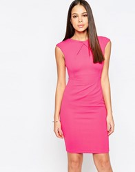 Vesper Avery Cap Sleeve Pencil Dress With Front Detail Pink