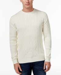 Club Room Men's Pima Cotton Cable Knit Sweater Only At Macy's Winter Ivory