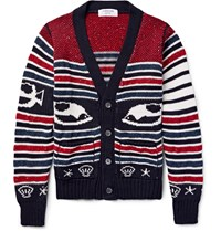 Thom Browne Intarsia Cotton Wool And Mohair Blend Cardigan Burgundy