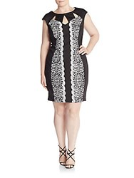 Jax Plus Size Lace Trim Dress Blk Ivory