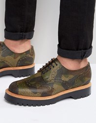 Asos Brogue Shoes In Camo Leather Made In England Camo Green