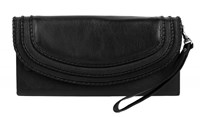 Dents Ladies Flap Over Purse With Handle Black