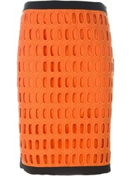 Moschino Laser Cut Pencil Skirt Yellow And Orange