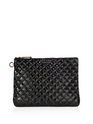 M Z Wallace Metro Quilted Oxford Patent Leather Pouch Black