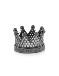 Azhar Re Silver And Zircon Crown Ring Black