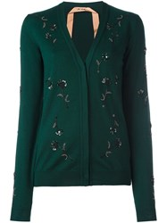 N 21 No21 Floral Sequin Embellished Cardigan Green