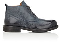 Barneys New York Men's Grained Leather Lace Up Boots Navy