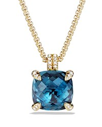 David Yurman Chatelaine Pendant Necklace With Hampton Blue Topaz And Diamonds In 18K Gold Blue Gold