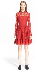 Lanvin Sheer Yoke Lace Dress Red