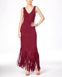 Inc International Concepts Petite Asymmetrical Fringe Maxi Dress Only At Macy's Glazed Berry