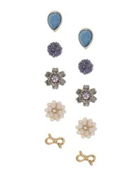 Lonna And Lilly Set Of Five Simulated Pearl Glass Stud Earrings Set Gold