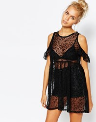 The Ragged Priest Sheer Overlay Dress In Ditsy Burn Out Floral With Cold Shoulder Black