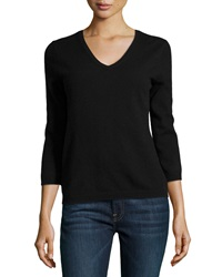 Neiman Marcus Cashmere V Neck Sweater Black