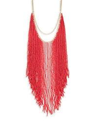 T And C Theodora And Callum Beaded Statement Necklace Coral