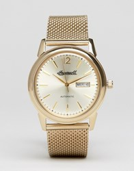 Ingersoll New Haven Automatic Mesh Watch In Gold Gold