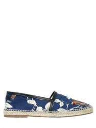 Dolce And Gabbana Birds Printed Cotton Canvas Espadrilles