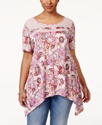 American Rag Plus Size Printed Illusion T Shirt Only At Macy's Chalk Pink Combo